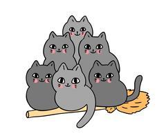 Halloween-, katt- och kvastflyg