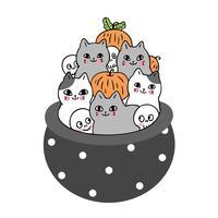 Halloween, Katze und Skelett und Kürbis im Gifttopf