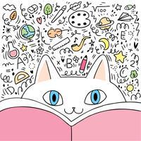 Tecknad filmkatt och bok med tillbaka till skolaklotter i bakgrunden