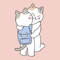 Zurück in die Schule Mutter und Baby Katze küssen vektor