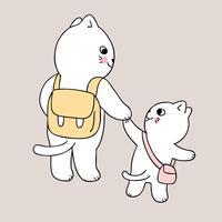 zurück zur Schule gehen Mutter und Katze zur Schule