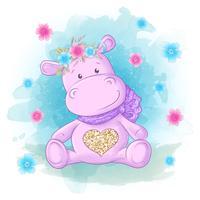 Flodhäst med blommor och fjärilar Tecknad stil.