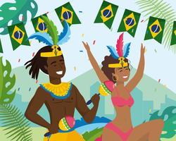 Weiblicher und männlicher Karnevalstänzer und -musiker mit brasilianischen Markierungsfahnen vektor