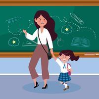Moder med dottern i klassrummet i skolan vektor