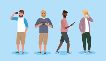Satz junge verschiedene Männer mit Smartphones