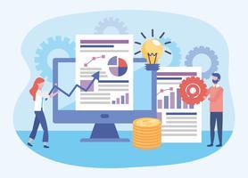 Geschäftsfrau und Geschäftsmann mit Computerdiagrammen, Ideenbirne und Gängen