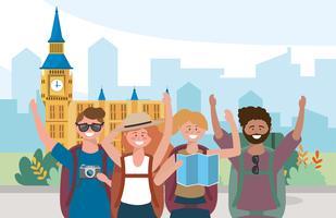 Gruppe verschiedene Mann- und Frauentouristen herein von Big Ben
