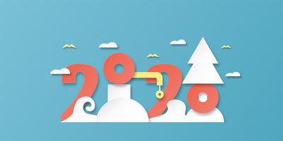 Frohes neues Jahr 2020, Jahr der Ratte im Papierschnitt und Bastelstil mit Wolken und Vögeln vektor