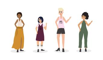 Uppsättning av olika kvinnor i tillfälliga kläder på vit bakgrund