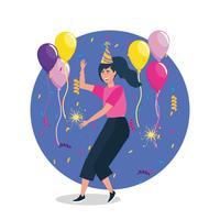 Tanzen der jungen Frau mit Ballonen und Konfettis