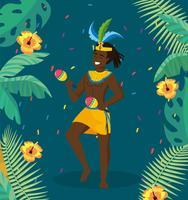 Manlig karnevalmusiker i dräkt med maracas