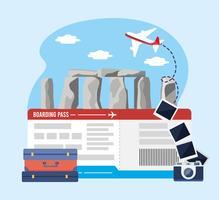 Stonehenge med flygbiljetter med kamera med resväska