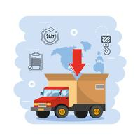 Lastbilstransport med servicesymboler