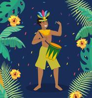 Manlig karnevalmusiker med trumma och kostym vektor