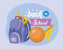 Tillbaka till skolmeddelandet med ryggsäck och basket vektor