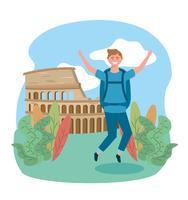 Manlig turist som hoppar framför coloseum