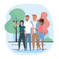 Gruppe junge Männer und Frauen, die selfie im Park nehmen