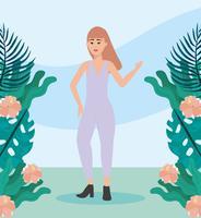 Ung modern kvinna i tillfälliga kläder utanför