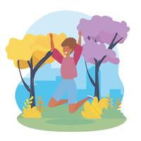 Die Frau springend in städtischen Park