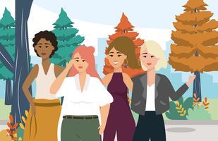 Grupp av unga moderna kvinnor utanför