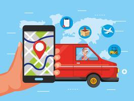 Hand med smartphone GPS och leverans lastbil