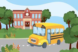 Skolbuss utanför skolan vektor
