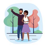 Paare, die selfie im Park nehmen