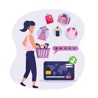 Kvinna som shoppar med korg- och detaljhandelsvaror vektor