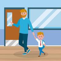 Far och son i korridoren på skolan vektor