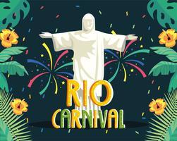 Rio karnevalsaffisch med Kristus frälsaren vektor