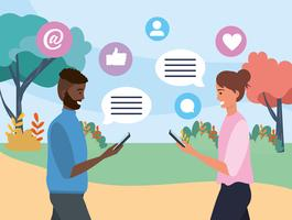 Man och kvinna med kommunikation för pratbubblan
