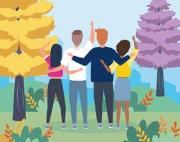 Gruppe Freunde, die von hinten in städtischen Park wellenartig bewegen vektor
