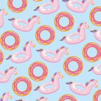 Nahtloser Donut und rosa Einhorn schwimmen Muster vektor