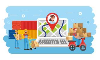 Laptop mit Standortverfolgung und Callcenter-Agent