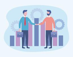 Affärsmän som skakar hand med stapeldiagram och kugghjul