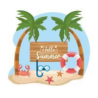 Hej sommarmeddelande på träskylt med snorkelmask och flottör