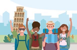 Manliga och kvinnliga vänner framför det lutande tornet i Pisa