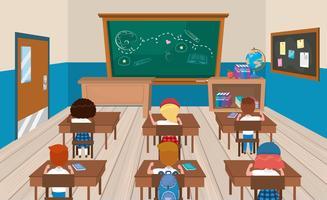 Schüler an Schreibtischen im Klassenzimmer vektor