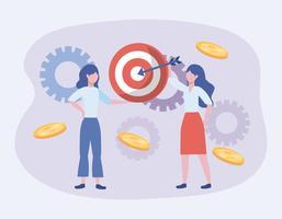 Geschäftsfrauen mit Ziel und Gängen vektor
