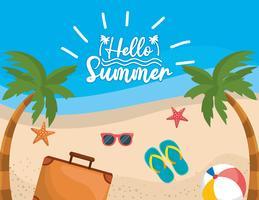 Hej meddelande på stranden med resväska och sandaler på sand