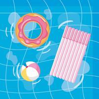 Luftbild des Pools mit Donut Float und Floß vektor