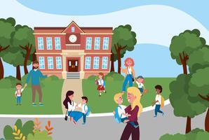 Föräldrar med barn framför skolbyggnaden vektor