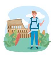 Manlig turist framför colosseum i Rom