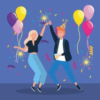 Mann und Frau tanzen mit Luftballons und Konfetti
