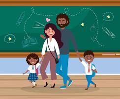 Mor och far med pojke och flicka i skolan vektor
