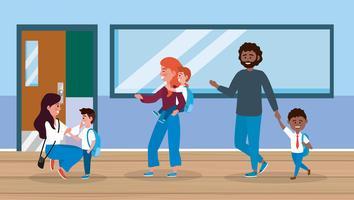 Eltern mit männlichen Kindern im Flur der Schule vektor