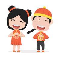 Chinesische Kinder, die Zeichen anhalten vektor