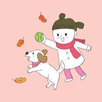 Mädchen und Hund, die Ball spielen