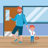Rothaariger Vater und Sohn in der Schule