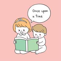 syster och bror läser bok